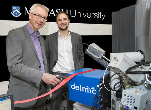 Professor Albert Polman, (FOM Institute AMOLF and University of Amsterdam) (Left), inventor of the SPARC cathodoluminescence system, and Dr Sander den Hoedt, (CEO, DELMIC BV) open the Monash facility.