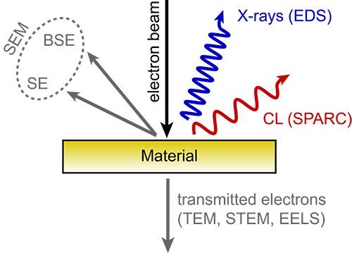 Schematic of the processes when energetic beam of electrons impinges on a sample